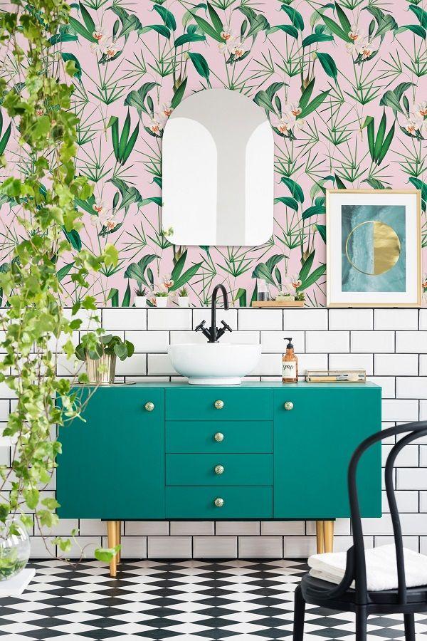 Top Tips For Hanging Wallpaper In The Bathroom Heart Home Small Bathroom Decor Bathroom Inspiration Tropical Bathroom