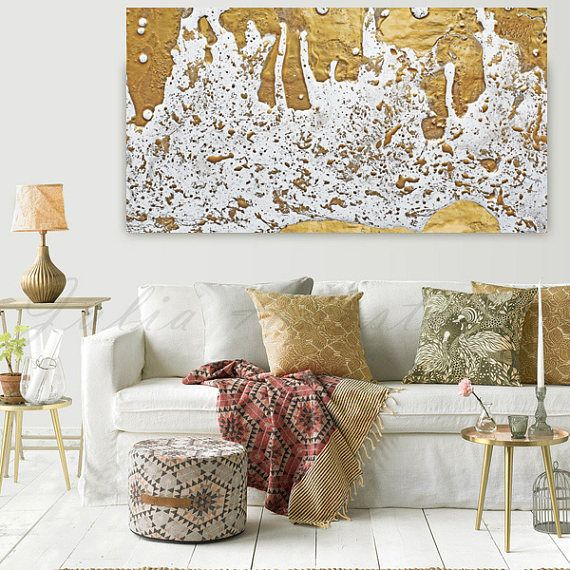 Gold Leaf Print Gold Foil Painting White and Gold Abstract