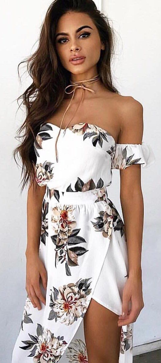 white off the shoulder summer dress with floral print