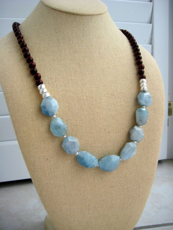 Aquamarine Necklace by BeadBashStudio on Etsy