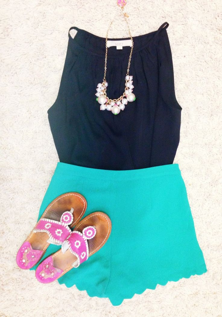 Top- loft  Shorts- red dress boutique  Sandals- jack rogers Necklace- Lilly Pulitzer