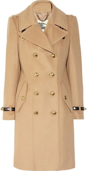 BURBERRYLeathertrimmed Wool and Cashmereblend Coat