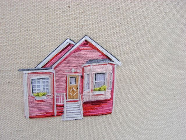 Stephanie K. Clark dwelling series embroidered paintings