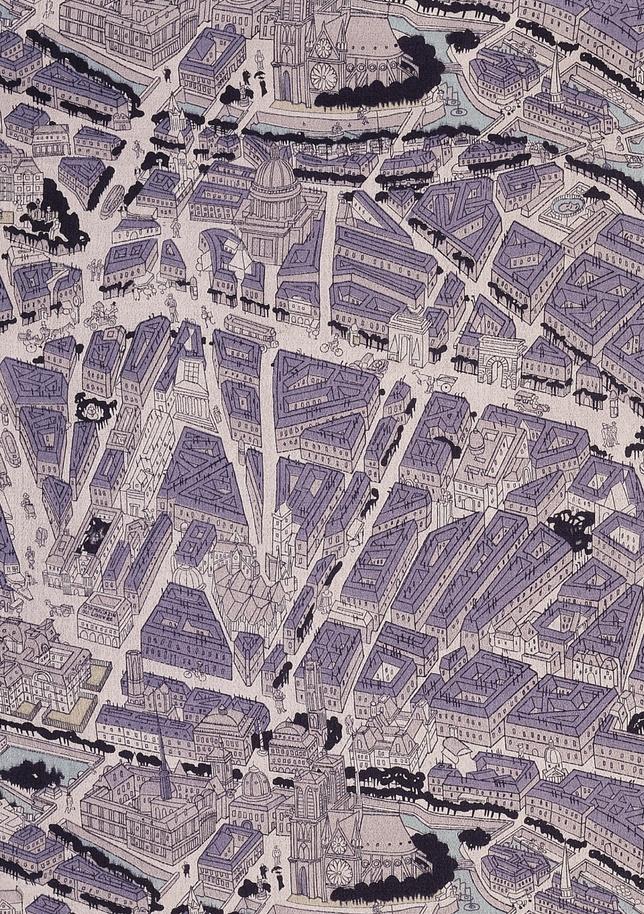 Map of Paris fabric Ralph BartonStehli Silks