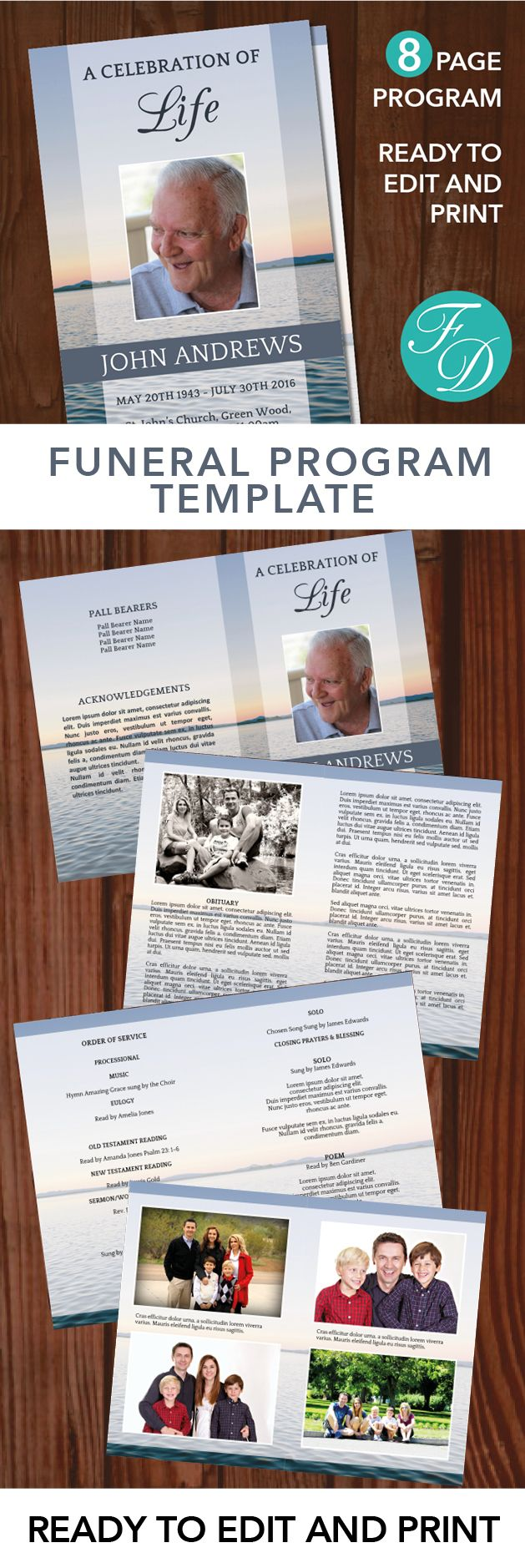 Sunset Printable Funeral program ready to edit & print Simply purchase your funeral templates, download, edit with Microsoft Word and print. #obituarytemplate #memorialprogram #funeralprograms #funeraltemplate #printableprogram #celebrationoflife