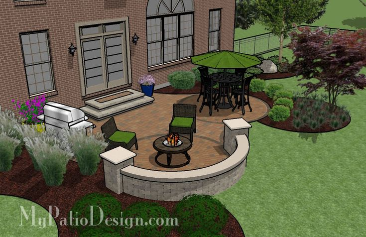 Circle Pavers and Curves Patio | Outdoor Fireplaces & Fire Pits