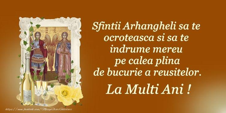 Sfintii Arhanghelo sa te ocroteasca si sa te indrume mereu pe calea plina de bucurie a reusitelor. La multi ani!