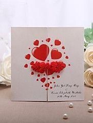 Personnalisé Plis Fenêtre Invitations de mariage Cartes d'invitation-50 Pièce/Set Style formel Papier nacre 13.2*13.2cm