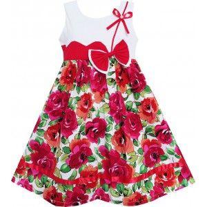 Dětské, dívčí letní šaty bílé s červenými květinami