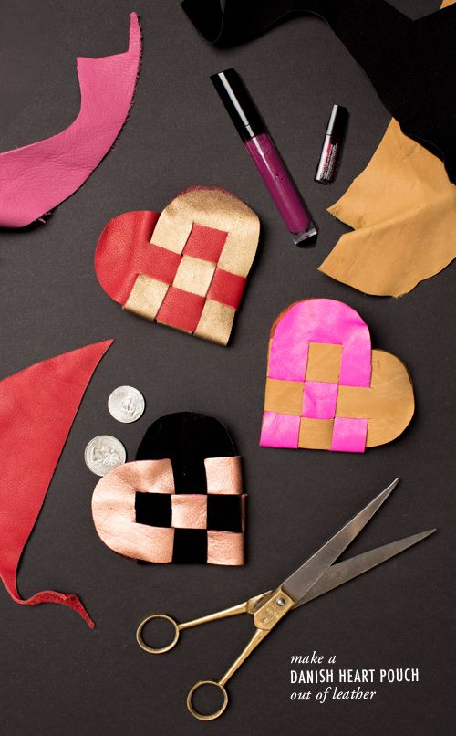 DIY: leather heart pouch