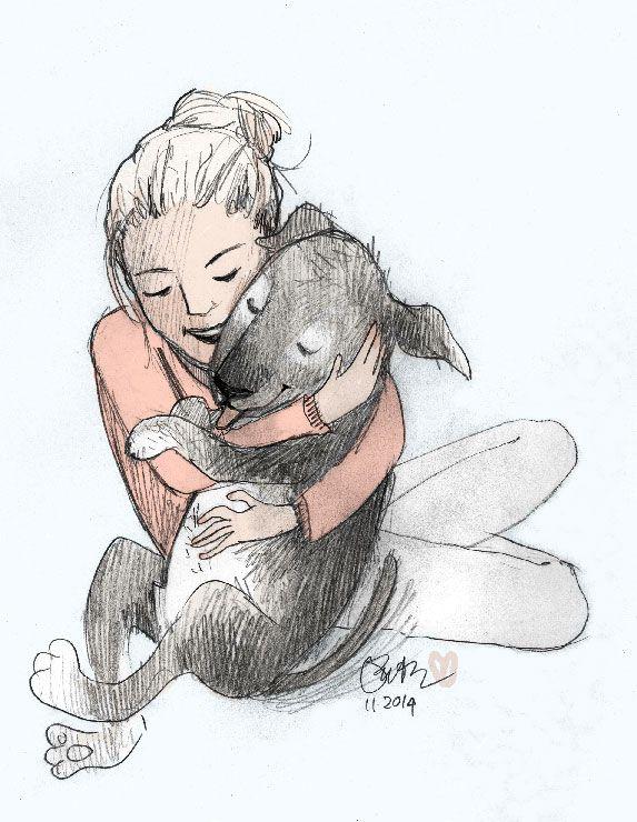Girl Hugging Dog Draw Animals Hugging Drawing Dog