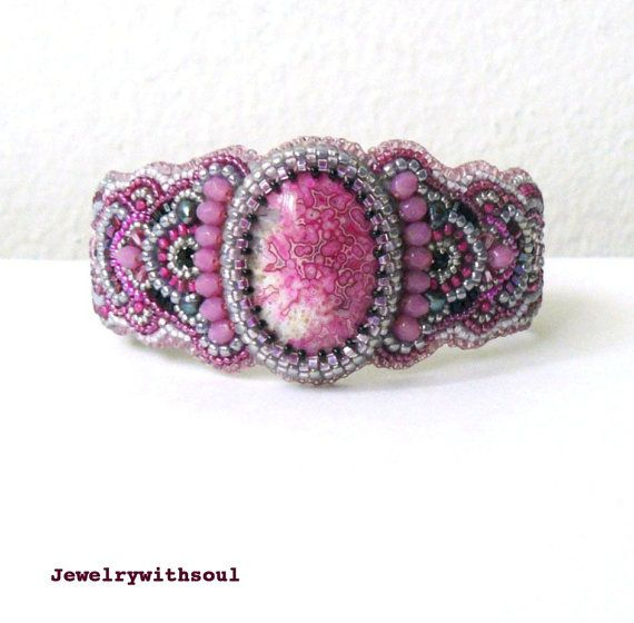 Bead embroidery cuff bracelet with crazy lace agate cabochon and seed beads in bright magenta fuchsia hot pink, grey and black - Hibiscus