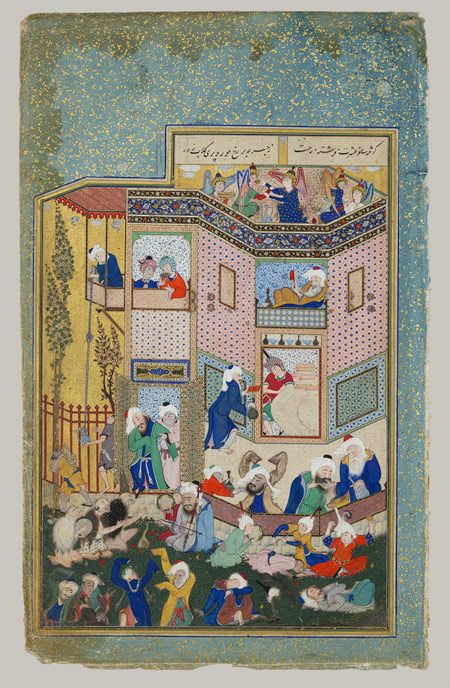 Allegory of Worldly and Otherworldly Drunkenness: Page from the Divan of Hafiz (Collected Poems of Hafiz), ca. 1526-1527, opaque watercolor, ink and gold on paper, Sultan Muhammad (Iranian/Persian active first half of 16th century), Tabriz, Iran