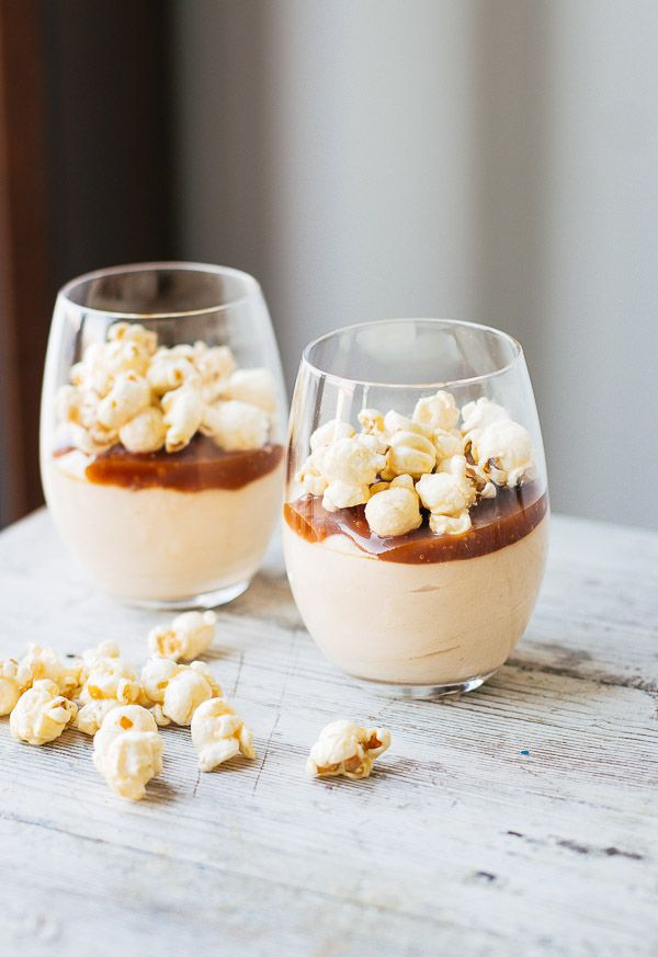 Creamy salted caramel cheesecake mousse with a deep caramel flavor, a touch of salt, and a caramel corn crunch.