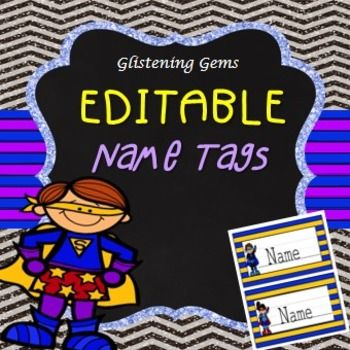 Name Tags - Editable - Back to School - SuperheroThese name tags are a great way to personalize your student's desks. Your students will be excited when they walk into their new classroom and see the cute superhero name tags on their desks. These editable name tags are in PowerPoint and it allows you to easily edit each name tag and select your own font.