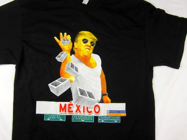 Donald Trump Mexico Wall meme funny President USA men's Tee shirt black #1StopTrendShop #GraphicTee #trump #mexico #funny #throwing salt