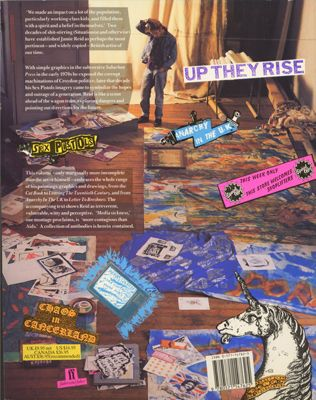 Jamie Reid & Jon Savage: Up They Rise – The Incomplete Works of Jamie Reid (Back cover). Design by Malcolm Garrett.
