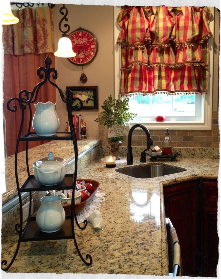 Cute cozy kitchen with beverage condiments on a tier