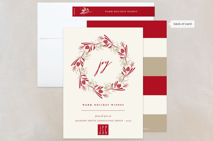 137 best holiday corporate business images on pinterest pine cone joyous wreath cardinal business holiday cards by fatfatin at minted reheart Images