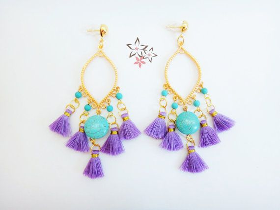 Carmen Earrings Handmade gold plated brass earrings adorned with turquoise howlite gemstone beads and purple cotton tassels. Created with exquisite