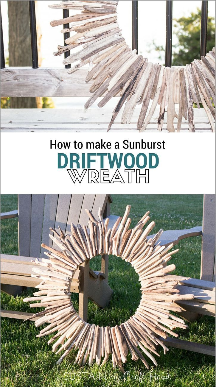 Make a stunning large sunburst driftwood wreath with this step-by-step tutorial. A beautiful rustic home decor or cottage decor idea.