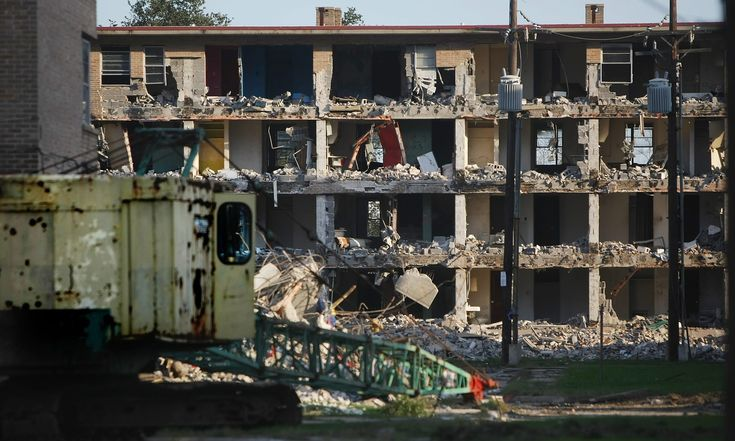10 years after the storm: has New Orleans learned the lessons of Hurricane Katrina? A public housing development is demolished two years after Katrina. Photograph: Mario Tama/Getty Images