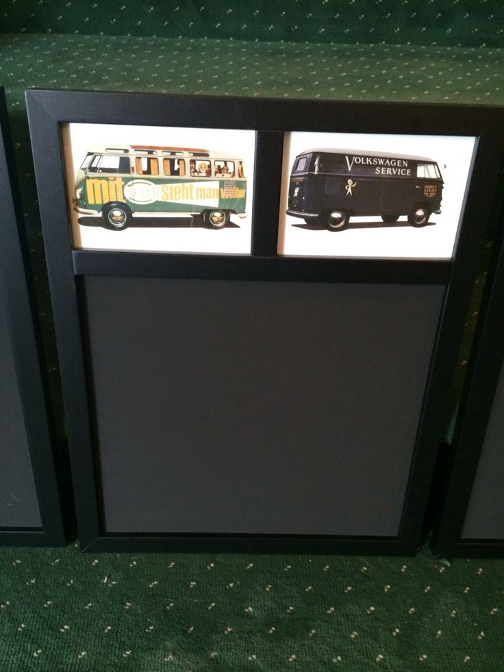 "Just arrived and the perfect gift for the VW enthusiast. Chalk memo boards 13""x16.5"" in 4 different styles all depicting different Splitscreen transporters and vans mounted behind glass ( the pics are licensed VW postcards and are beautifully printed on thick stock card)  £7.50 each or £11 posted.  3/4"