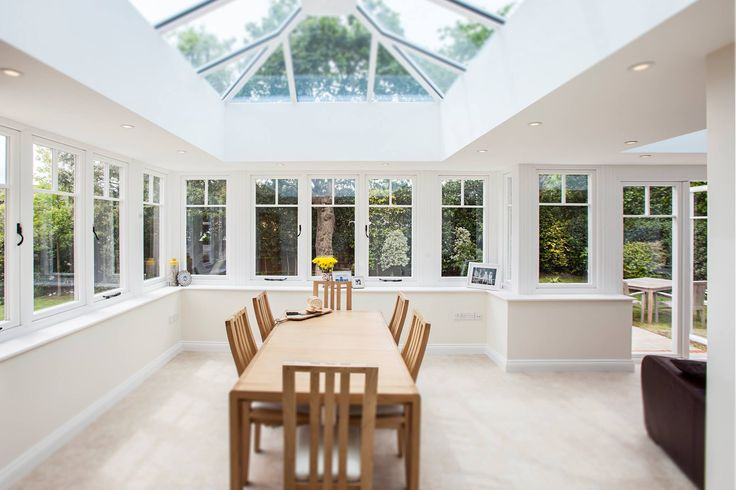 Inside of a stylish, contemporary #Residence9 Orangery. This bright space is perfect for entertaining. #Orangery #Windows #Doors #R9journey