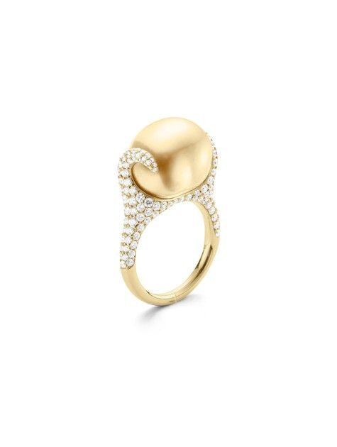 Mikimoto Golden Baroque Ring. 14mm Baroque Golden Pearl with 1.19ct of diamonds, set in 18k Yellow Gold.