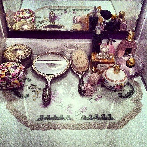 Antique Vanity Set vintage makeup perfume antique feminine vanity victorian mirror