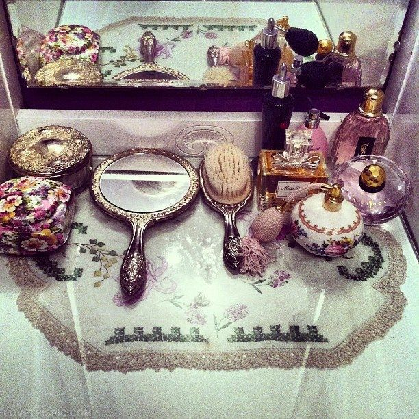 Antique Vanity Set vintage makeup perfume antique feminine vanity victorian mirror
