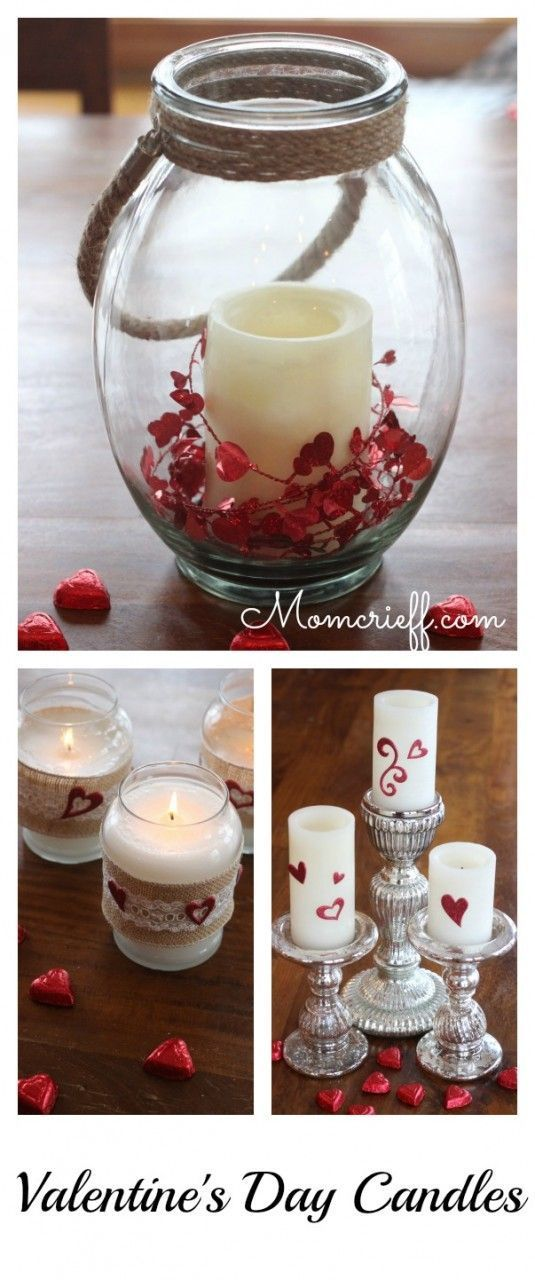 Valentine's Day Candles. An easy DIY where you recycle and repurpose what you have to decorate for Valentines Day