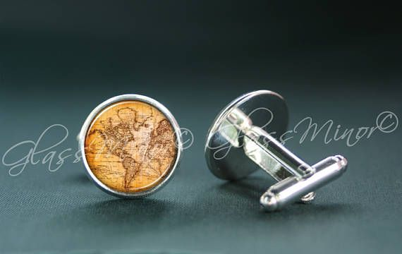 Vintage Old Map Cufflinks, World Map Antique Wanderlust Travel Nautical Groomsmen Usher Cufflinks, Wedding Cufflinks, Gift for Him