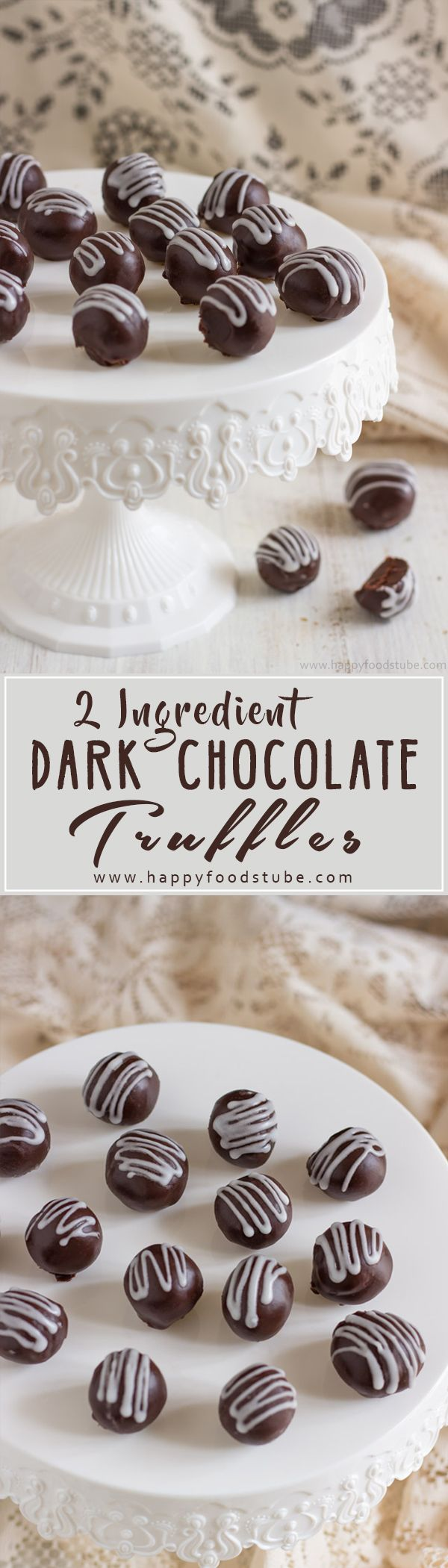 Homemade 2 Ingredient Dark Chocolate Truffles are rich, creamy and so tasty. Make them for Christmas, New Year's Eve party or gift them | happyfoodstube.com