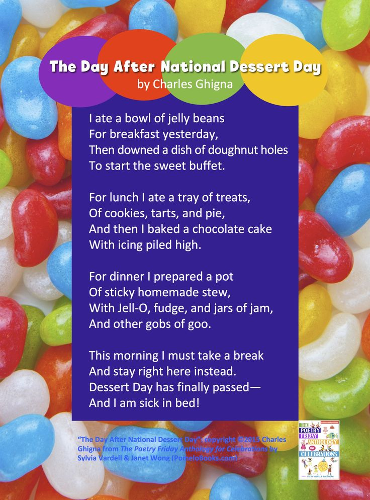 """Share """"The Day After National Dessert Day"""" by Charles Ghigna from THE POETRY FRIDAY ANTHOLOGY® FOR CELEBRATIONS edited by Sylvia Vardell and Janet Wong (Pomelo Books, 2015)"""