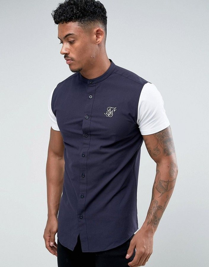 SikSilk Muscle Shirt In Navy With Jersey Sleeves