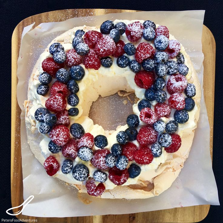 Australian Christmas Pavlova Wreath - or just perfect to eat on a summer's day, with fresh blueberries and raspberries.