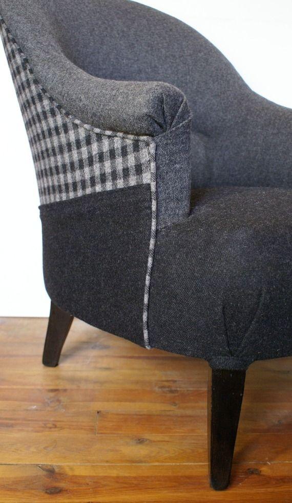 Fauteuil crapaud en laine grise, mélange de clair et foncé                                                                                                                                                                                 Plus