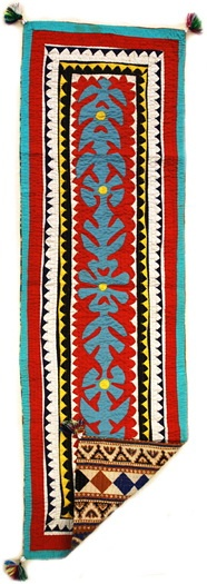 """Design No. LHRS-119 Ralli quilt table runner size 16""""X45"""". Hand sewn and hand stitched."""