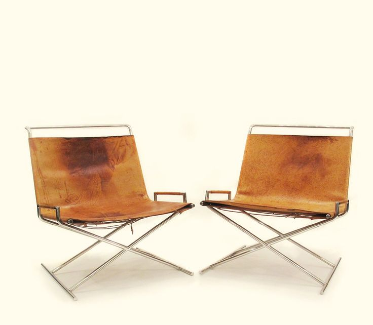 c. 1968 Ward Bennett's 'Sled' chairs...leather, chrome