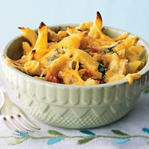 Fresh spinach, chicken, and a combination of cheeses make this pasta dish comforting enough for the last days of winter yet fresh enough for the first days of spring. Serve family style or portion out in individual ramekins. Either way, this penne pasta casserole is definitely worth sharing.