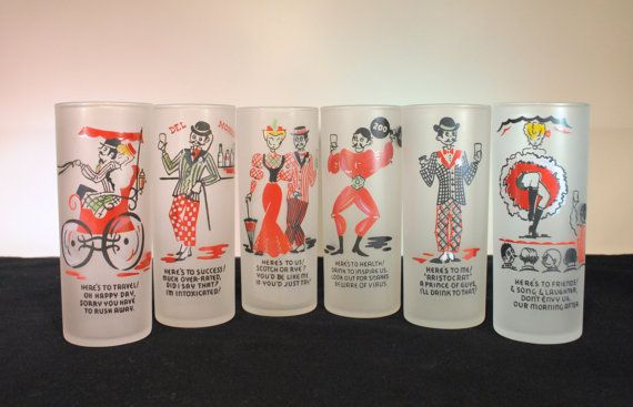 Vintage Set of 6 Frosted Zombie Gay Fade Glasses in by RetroEnvy21