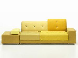 Wat: Polder Sofa bank Ontwerper/fabrikant: Hella Jongerius, Vitra Herkomst: Zwitserland Materiaal: Hout, Polyester (kunststof), PU-schuim (kunststof) Prijs: € 5.614,-