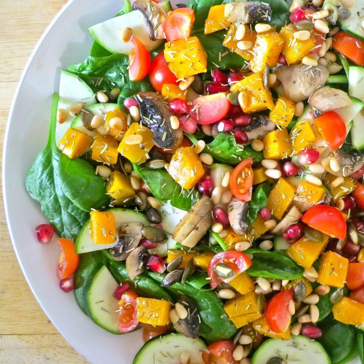 rosemary roasted squash and sautéed mushroom spinach salad: vegan