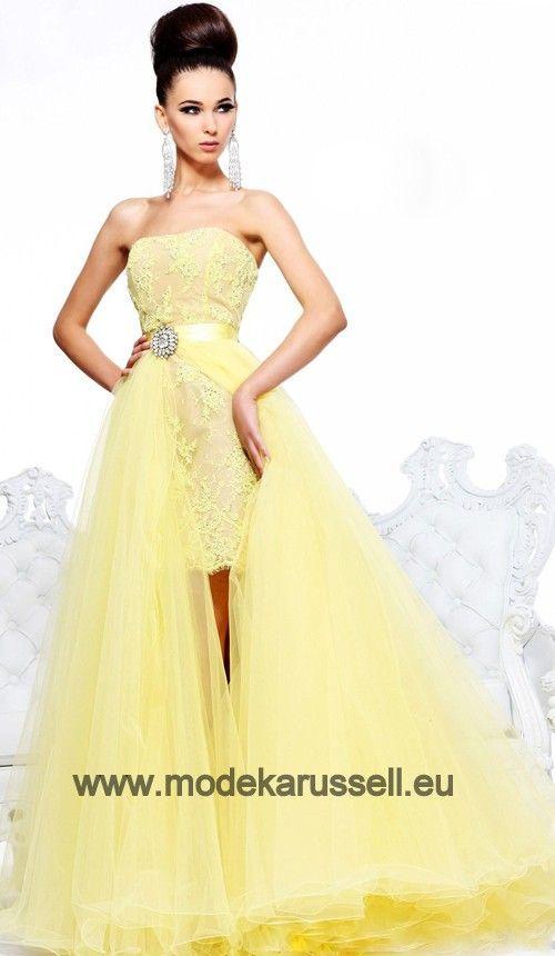 Vokuhila Abendkled in Gelb Vorne Kurz Hinten Lang