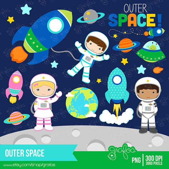OUTER SPACE Clipart, Astronaut Clipart, Space Clipart , Rockets Clipart / Instant Download