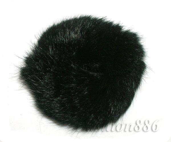 100% Real Black Soft Rabbit Fur Hair Scrunchie Hair Ponytail RD02