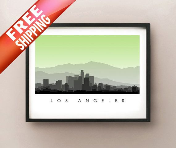Los Angeles Skyline by CartoCreative on Etsy