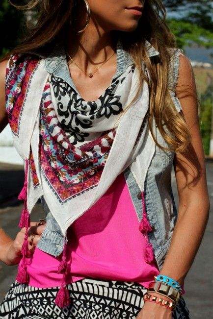 With a Denim Vest///Put a summer scarf under the collar of a denim vest and put on fun jewelry to match.