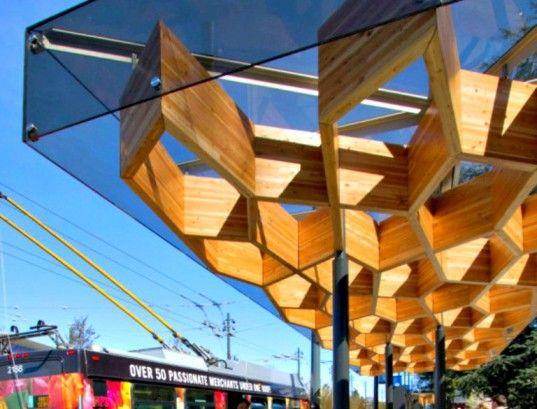 Public Architecture and Communication, Tree-Like Transit Shelters for UBC, University of British Columbia, urban design, transport design, bus stop design, GLULAM Canopy